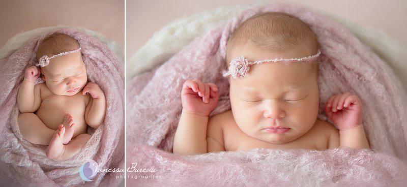 Nouveau-né, photographe Dijon, portrait avec bandeau rose
