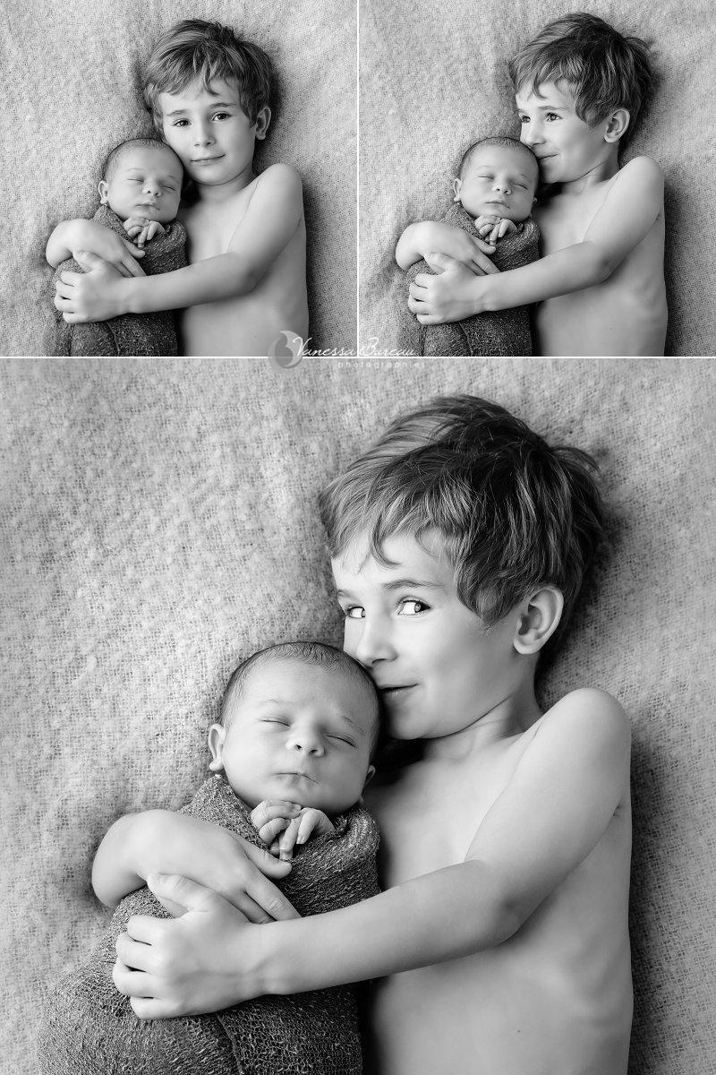 Séance photo bébé Dijon, avec son grand frère, 3 images