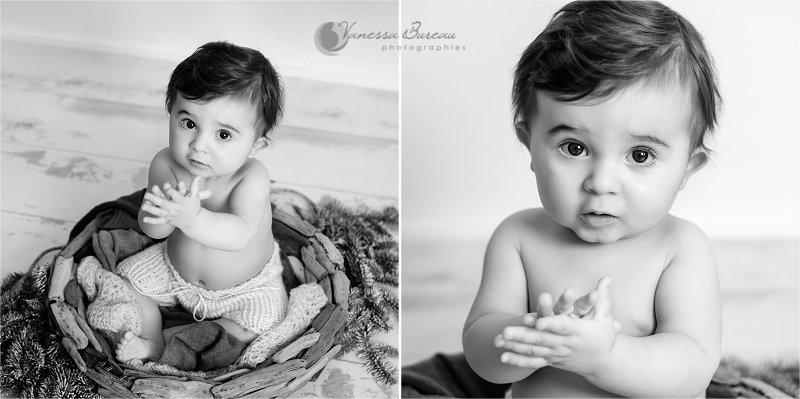 Portrait de Bébé noir et blanc, panier en bois