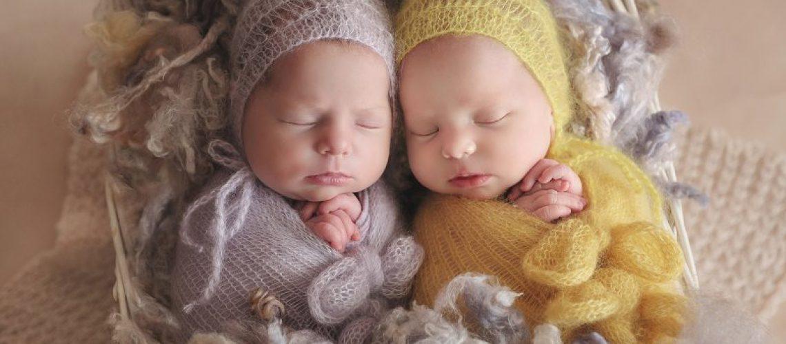 Portrait des 2 Jumelles nouveau-nés, en jaune et mauve, par Vanessa Photographe à Dijon